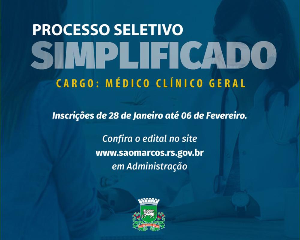 Prefeitura inicia Processo Seletivo Simplificado para cargo de médico