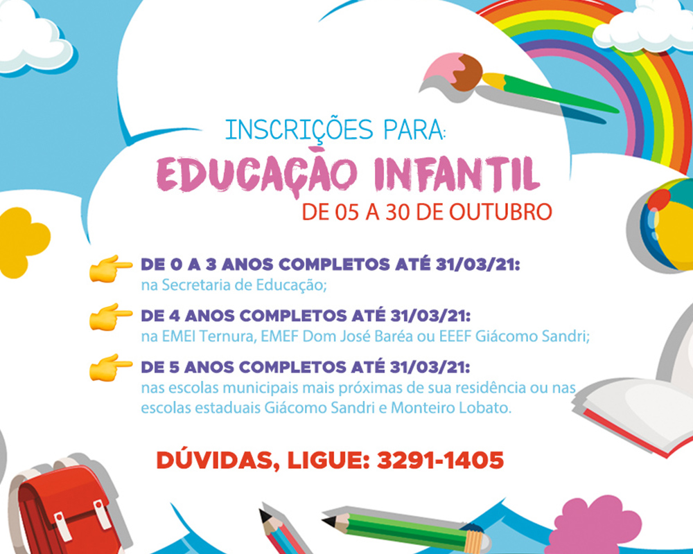Inscrições de alunos para a educação infantil em São Marcos iniciam na próxima segunda-feira (05)