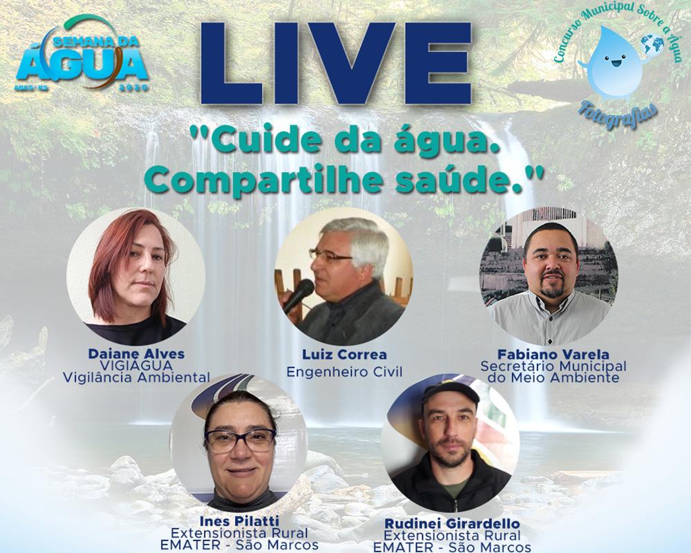 """Live com a temática """"cuide da água, compartilhe saúde"""" ocorre esta sexta-feira (02)"""