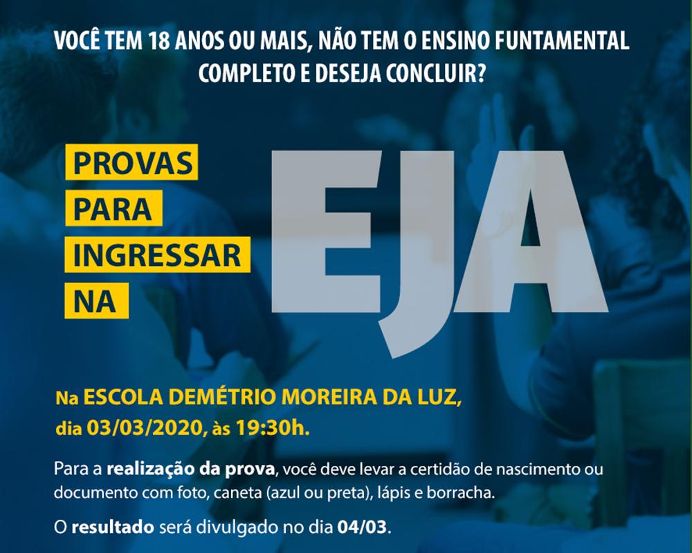 Provas para ingressar na EJA serão no dia 03/03