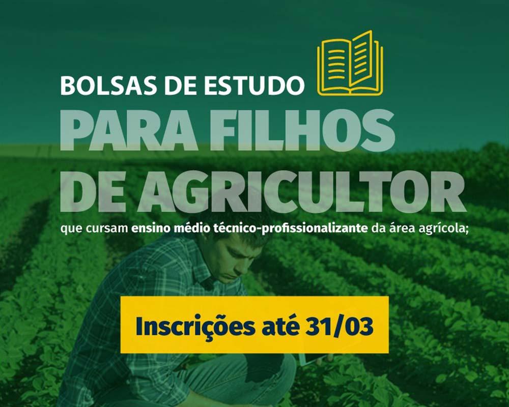 Está aberto o período de inscrições para bolsas de ensino médio técnico-profissionalizante na área agrícola