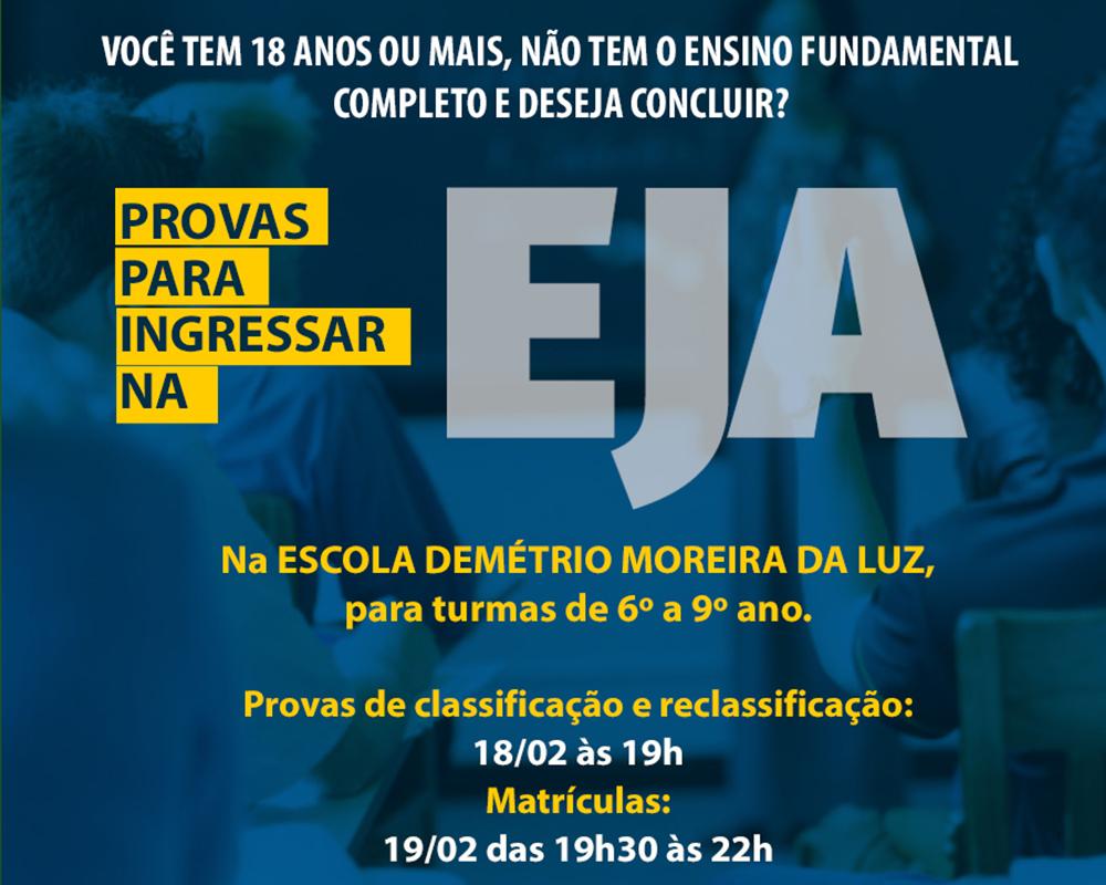 PROVAS DE CLASSIFICAÇÃO PARA INGRESSAR NA EJA EM SÃO MARCOS SERÃO NO DIA 18/02