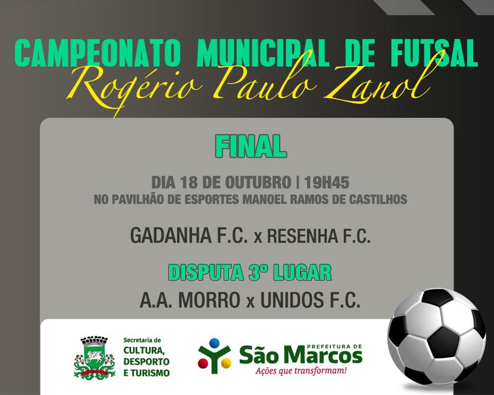 Final do campeonato municipal de futsal ocorre hoje (18)