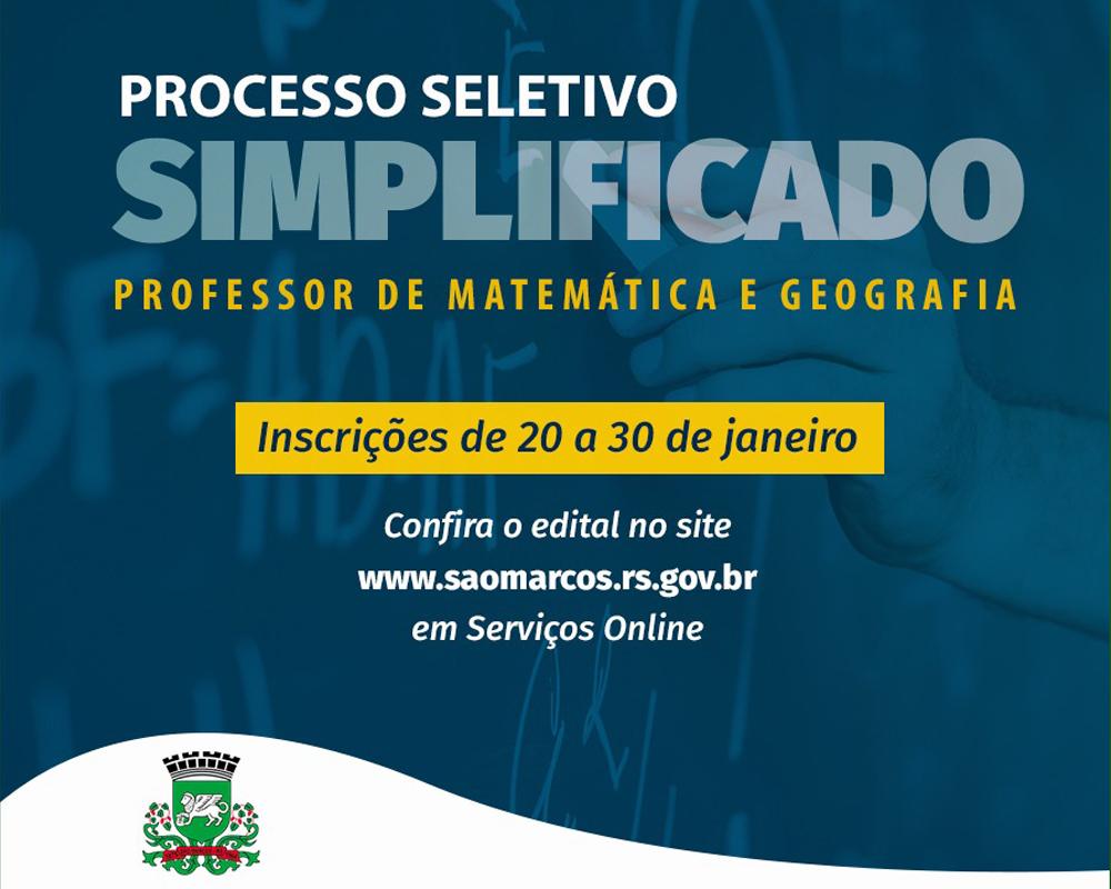 Primeiro processo seletivo simplificado do ano é para professores de matemática e geografia