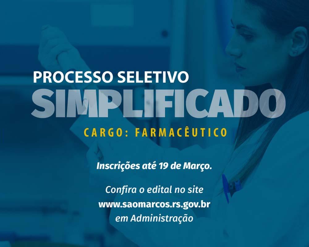 Inscrições do Processo Seletivo Simplificado para farmacêutico encerram quinta-feira (19)