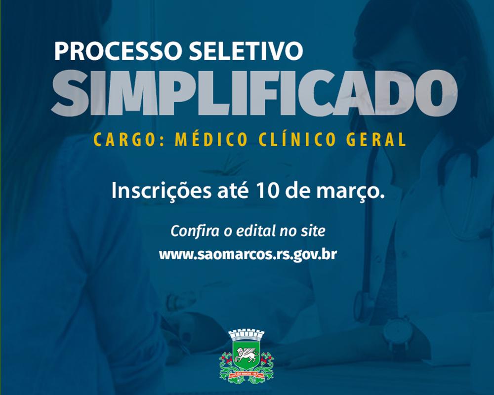 Prefeitura está com inscrições abertas para Processo Seletivo Simplificado de médico