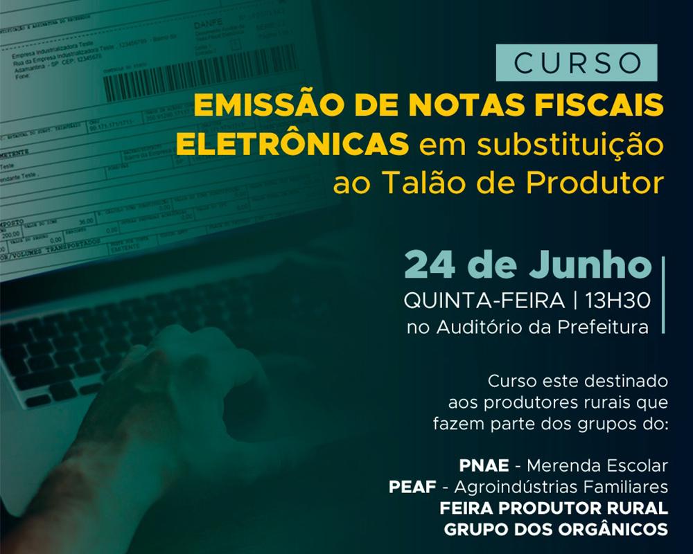 Prefeitura, Emater e Sebrae promovem curso gratuito sobre emissão de notas fiscais eletrônicas para os agricultores