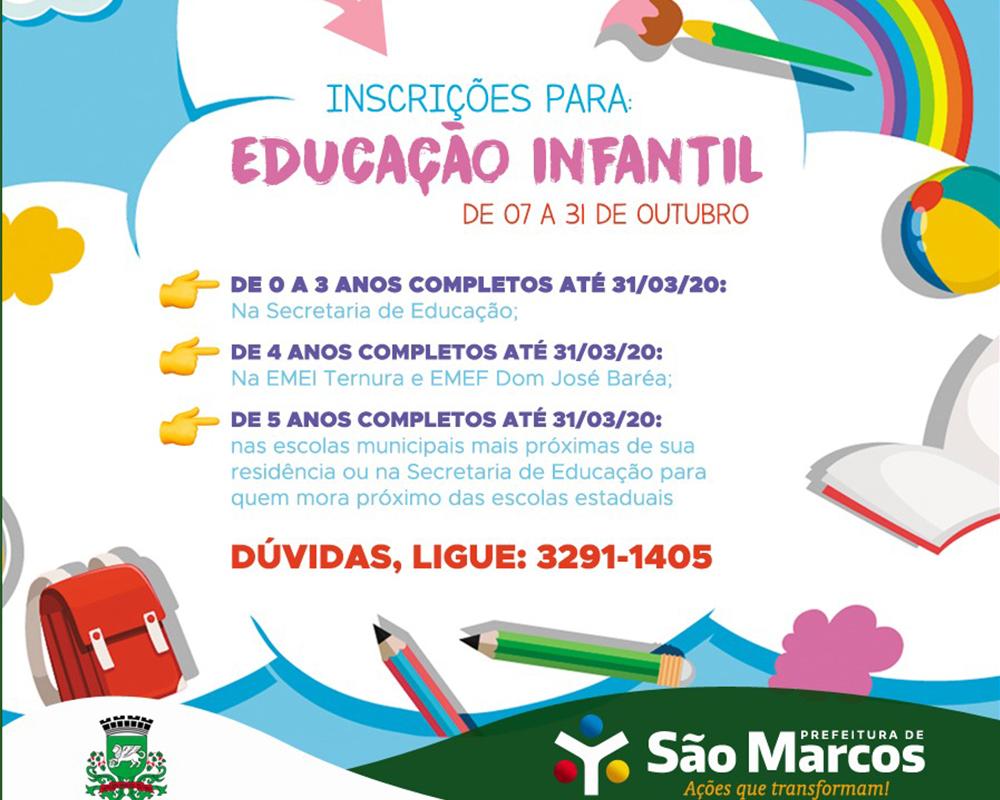 Inscrições de alunos para a Educação Infantil em São Marcos iniciam na segunda-feira (07)