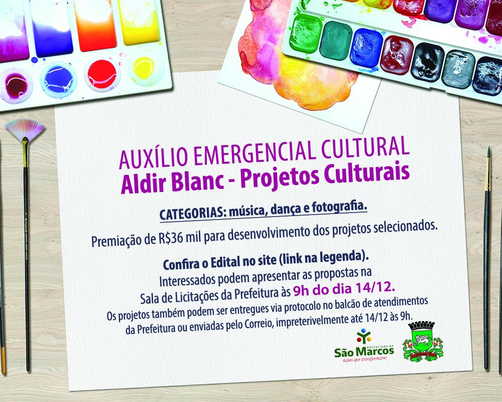 Publicado hoje (03) edital de R$36 mil para contemplar projetos através da Lei Aldir Blanc