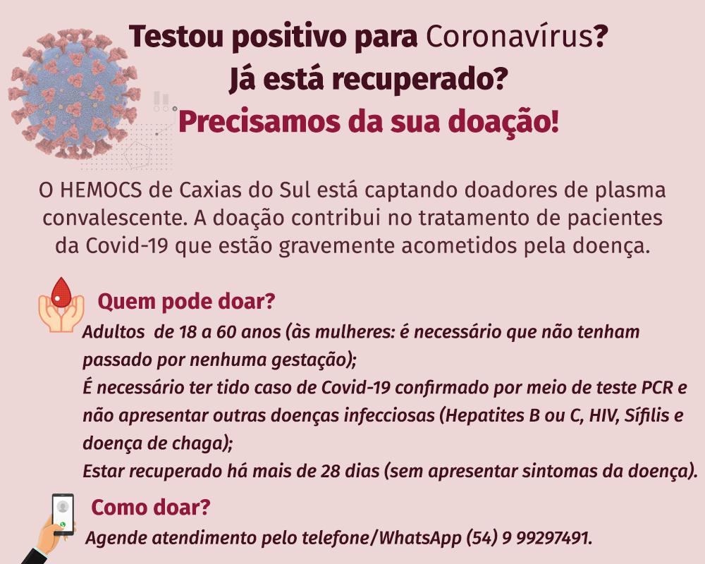 COE convida pessoas recuperadas de Covid-19 para colaborarem com o tratamento de pacientes através da doação de plasma sanguíneo