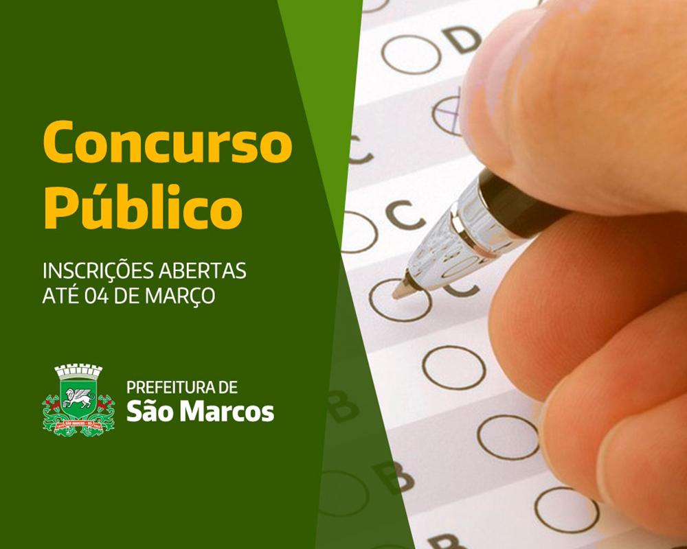 Inscrições para Concurso Público da Prefeitura de São Marcos iniciam hoje (19)