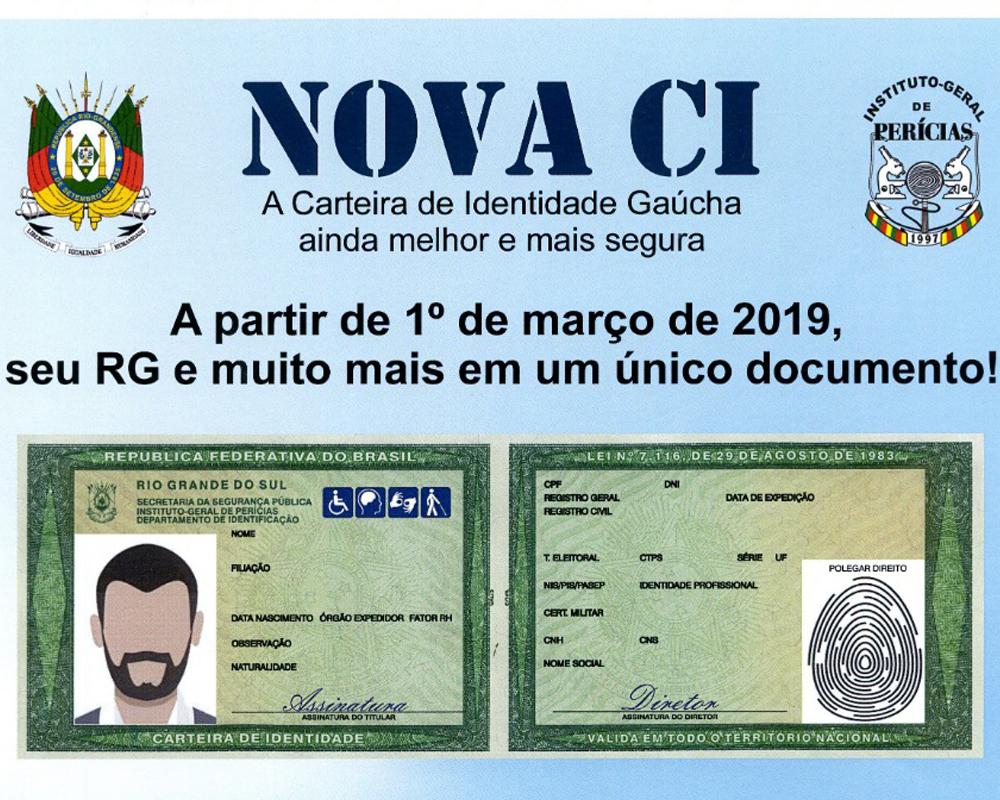 Novo Modelo da Carteira de Identidade Gaúcha será emitido a partir de março