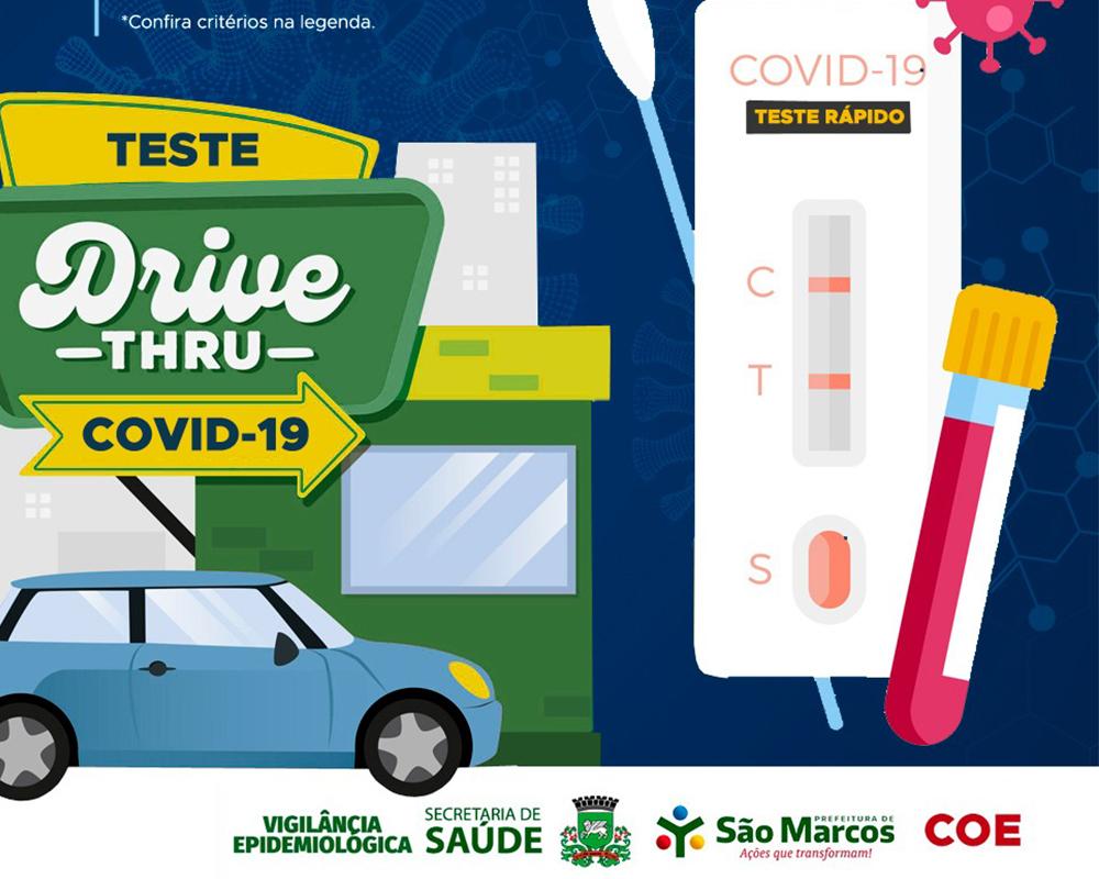 São Marcos realizará drive thru de testagem para Covid-19 na próxima segunda-feira, 28 de junho