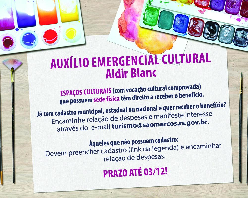 Prefeitura abre prazo de atualização de cadastro e inscrição de espaços culturais para recebimento do benefício da lei Aldir Blanc