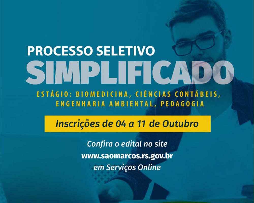 Inscrições do Processo Seletivo Simplificado para estagiário estão abertas