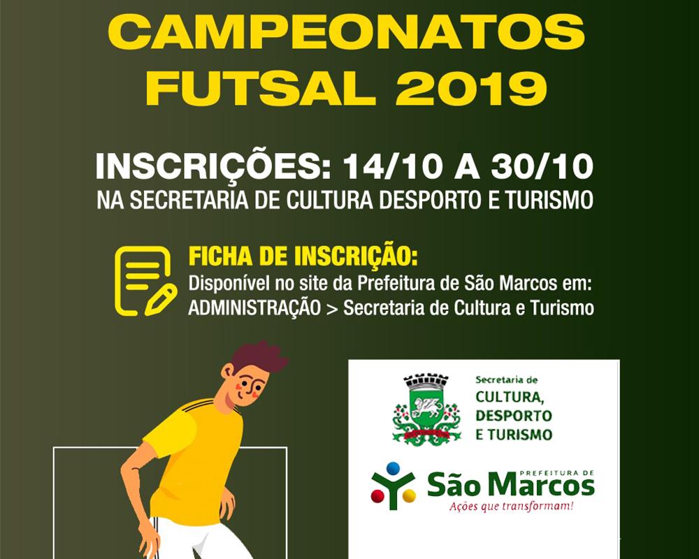 Inscrições abertas para futsal nas categorias veterano, master e feminino