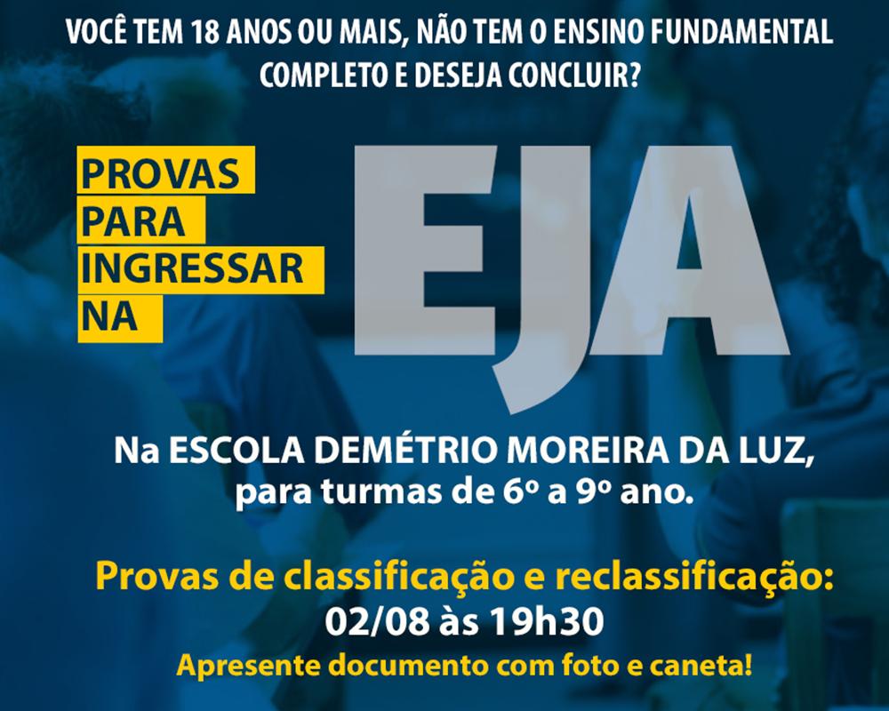 Provas de classificação para ingressar na EJA em São Marcos serão no dia 02/08