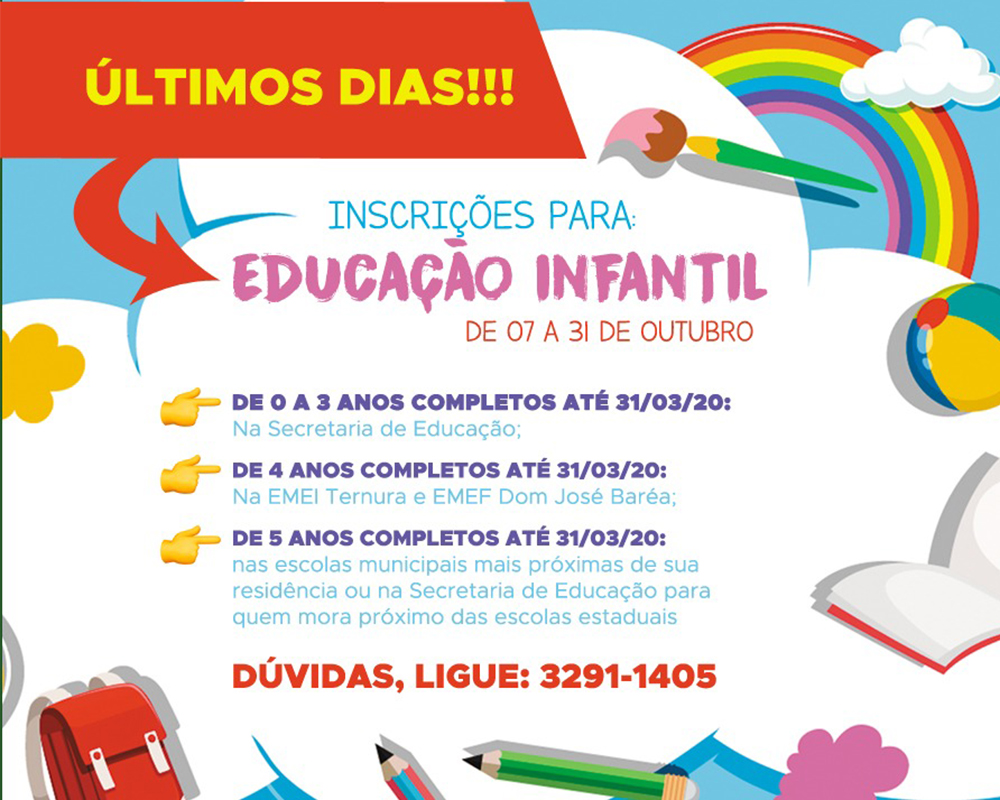 Inscrições para Educação Infantil da rede municipal de ensino encerram nesta quinta-feira (31)