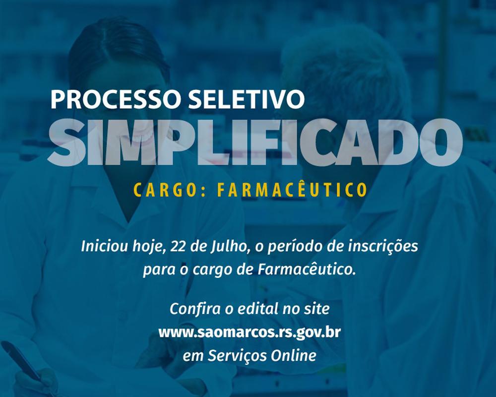Prefeitura inicia Processo Seletivo Simplificado para cargo de Farmacêutico