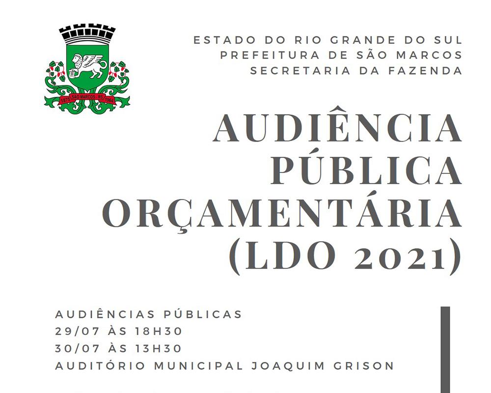 Audiências para apresentação da LDO serão realizadas na próxima semana