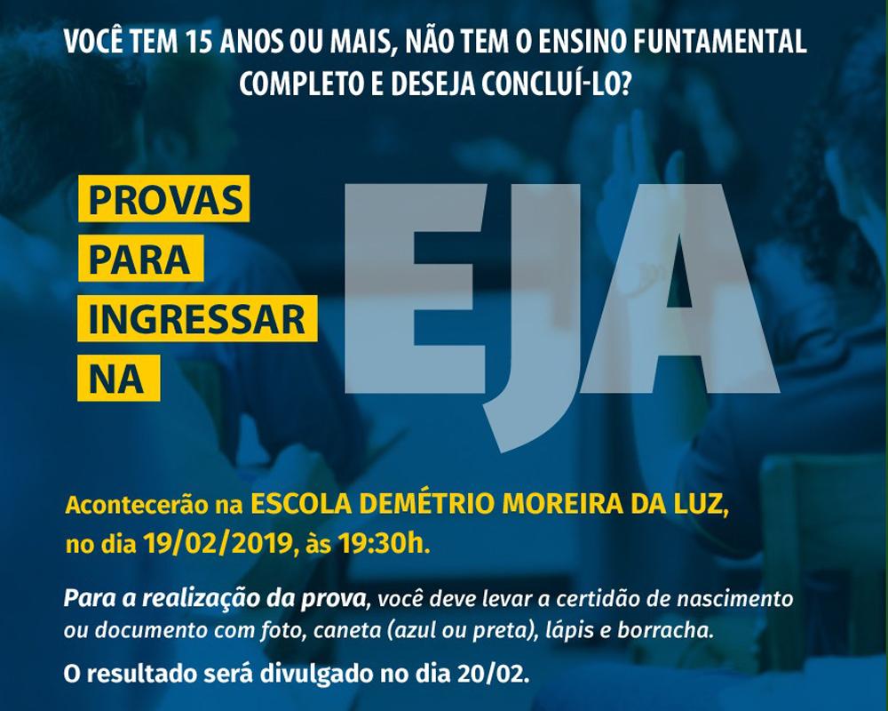 Provas para ingressar na EJA, em São Marcos, acontecerão no próximo dia 19