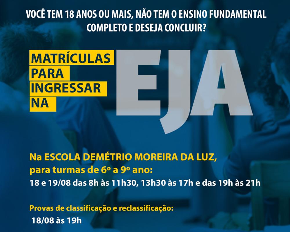 Matrículas para ingressar na EJA em São Marcos serão nos dias 18 e 19/08