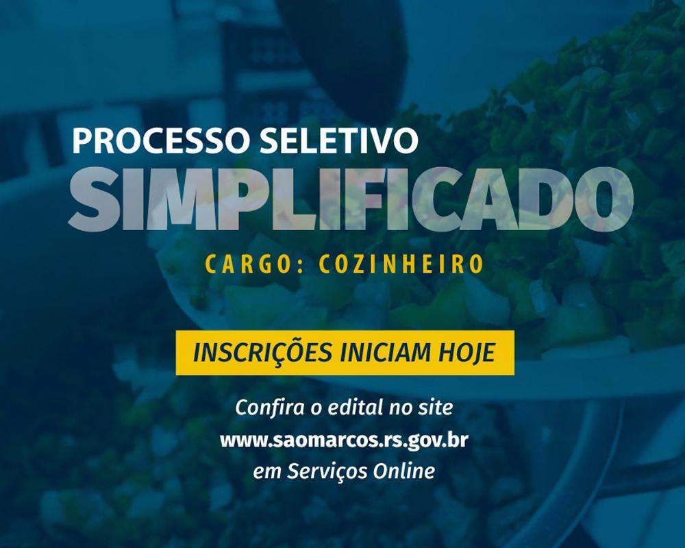 Inicia hoje (19) inscrições do Processo Seletivo Simplificado para cozinheiro (a)