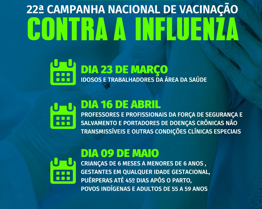 A Campanha de Vacinação Contra a Gripe inicia segunda-feira (23)