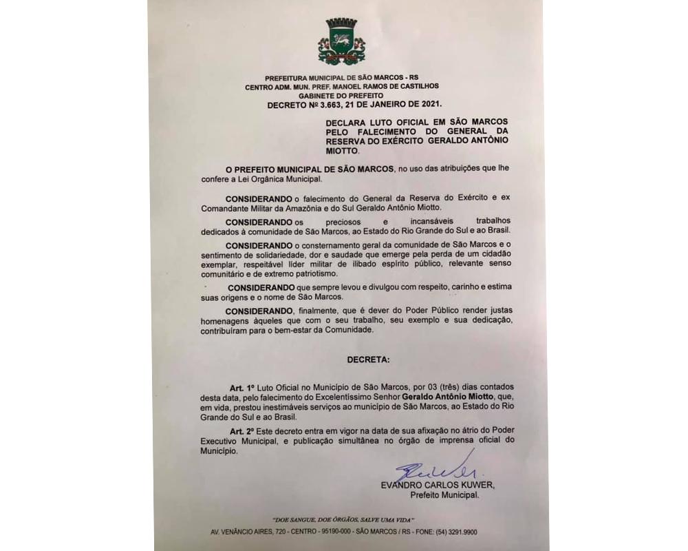 São Marcos está em luto oficial pela perda do General Miotto