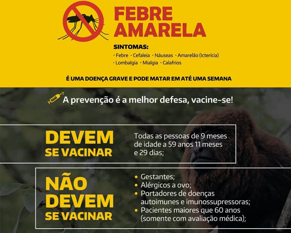 Secretaria de Saúde reforça calendário vacinal da Febre Amarela após confirmação de que a doença está presente no município