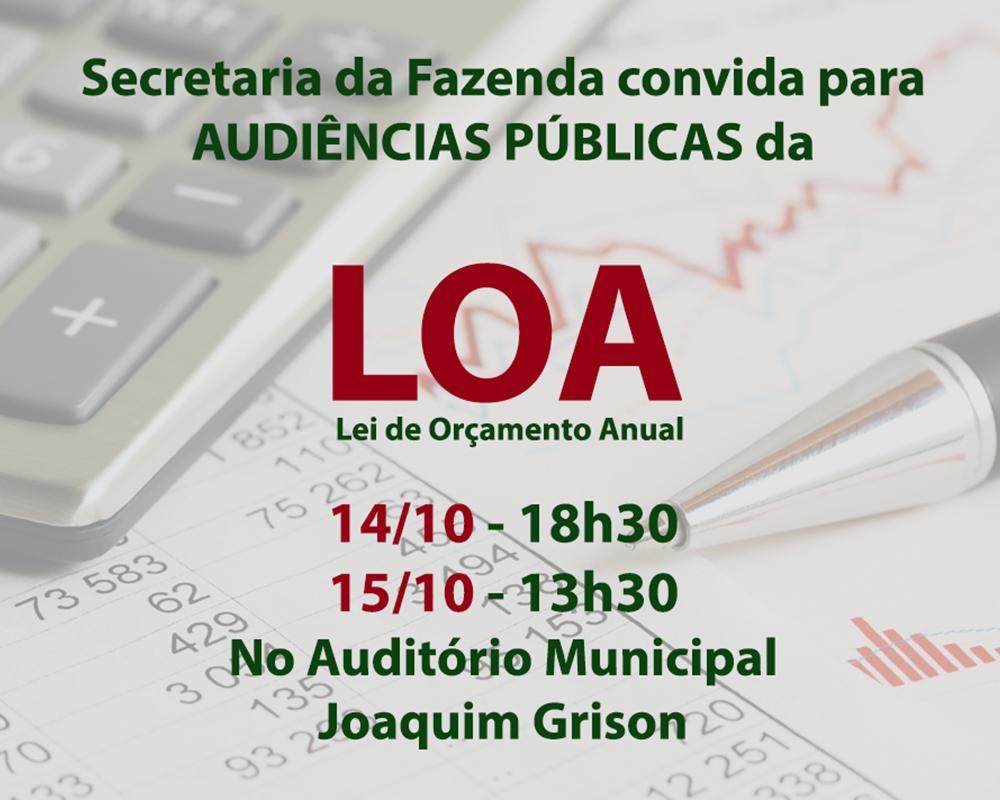 Audiências Públicas da LOA serão nos dias 14 e 15/10