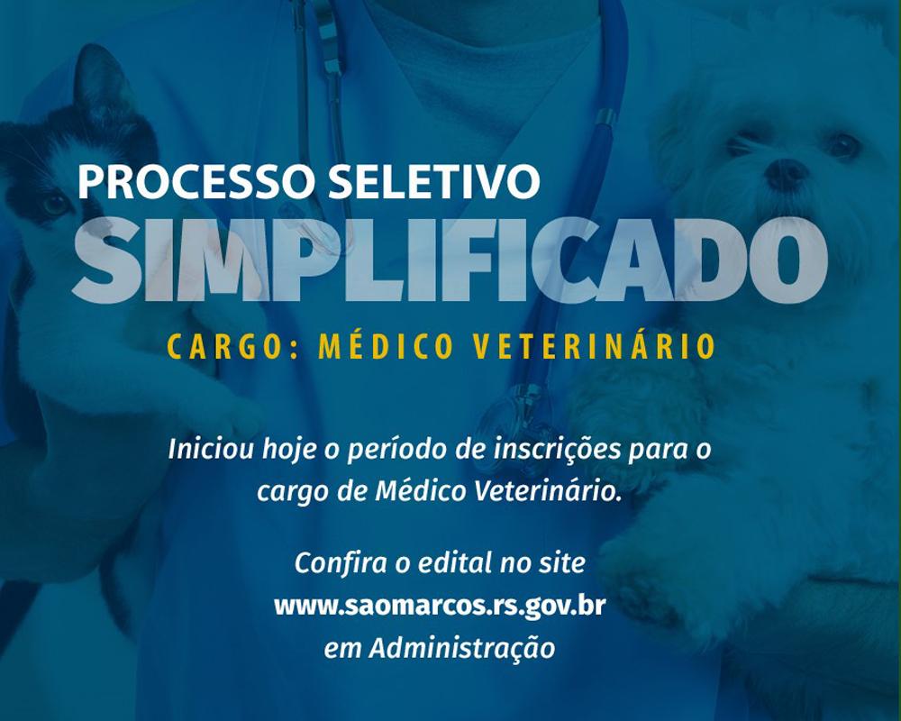 Inicia hoje, 14, o período de inscrições do Processo Seletivo Simplificado para o cargo de Médico Veterinário