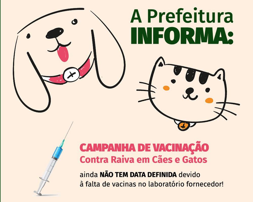 Em São Marcos, campanha de vacinação contra a raiva em cães e gatos não tem previsão para ser realizada